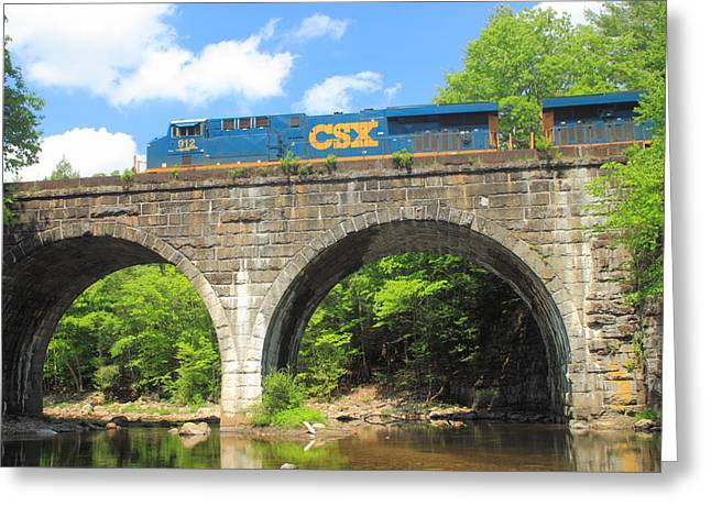 Westfield River Greeting Cards - Keystone Arches Double Arch Railroad Bridge Greeting Card by John Burk