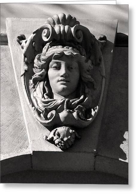 Belle Epoque Reliefs Greeting Cards - Keystone Portrait Sculpture Budapest Greeting Card by James Dougherty