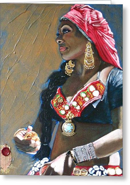 Tribal Belly Dance Greeting Cards - Khadijah Greeting Card by Stephanie Bolton