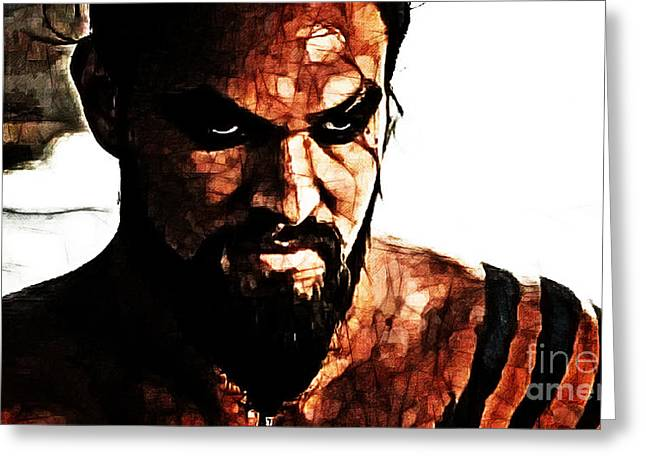 Game Mixed Media Greeting Cards - Khal Drogo Greeting Card by The DigArtisT
