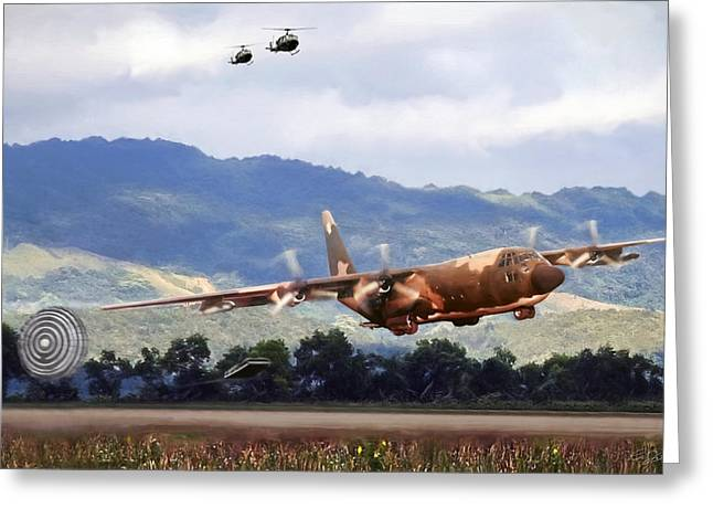 Delivery Greeting Card featuring the digital art Khe Sanh Lapes C-130a by Peter Chilelli