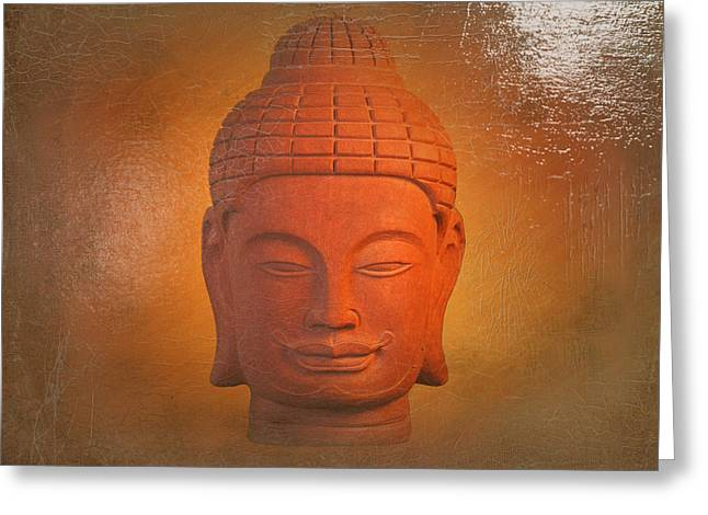 Stones Greeting Cards - Khmer Antique Oil Paint Effect Greeting Card by Terrell Kaucher
