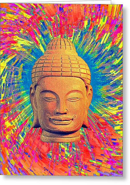 Buddhist Sculptures Greeting Cards - Khmer colorful 3 CF Greeting Card by Terrell Kaucher