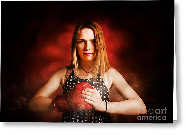 Kickboxing Gym Girl In Boxing Fitness Competition  Greeting Card by Jorgo Photography - Wall Art Gallery