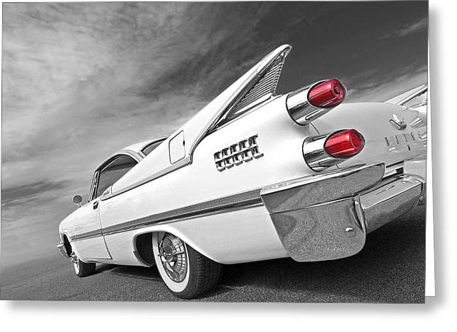 Geometric Image Greeting Cards - Kicking Up a Storm - 1959 Dodge Custom Royal Lancer Greeting Card by Gill Billington