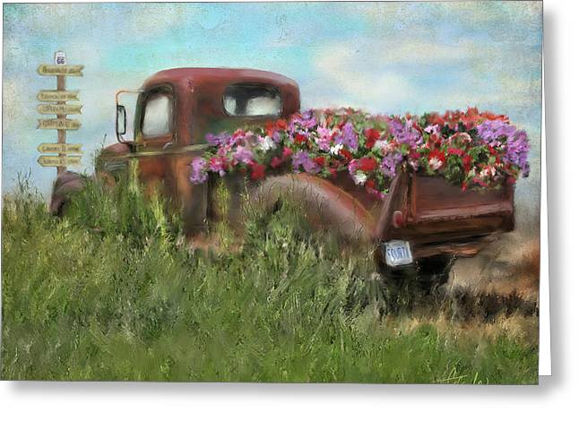 Old Pickup Greeting Cards - Kicks on Route 66 Greeting Card by Colleen Taylor