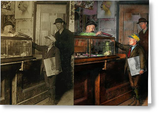 Kid - A Visit To The Candy Store 1910 - Side By Side Greeting Card by Mike Savad