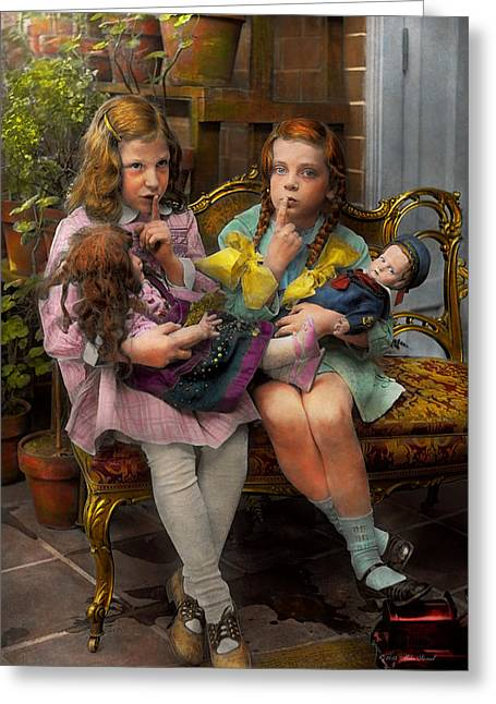 Pairs Greeting Cards - Kid - Our little secret 1915 Greeting Card by Mike Savad