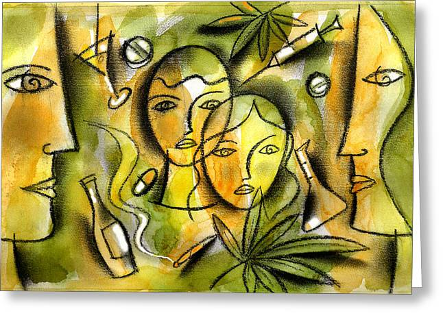 Kids And Drugs Greeting Card by Leon Zernitsky