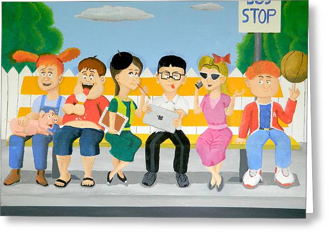 Kid Eating Ice Cream Greeting Cards - Kids At The Bus Stop Greeting Card by Winton Bochanowicz