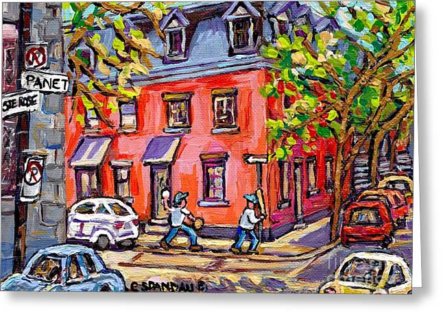 The Plateaus Greeting Cards - Kids Baseball Paintings Sunlit Summer Scene Pink House At Panet And Ste Rose Best Canadian Art  Greeting Card by Carole Spandau