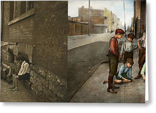 Kids - Cincinnati Oh - A Shady Game 1908 - Side By Side Greeting Card by Mike Savad