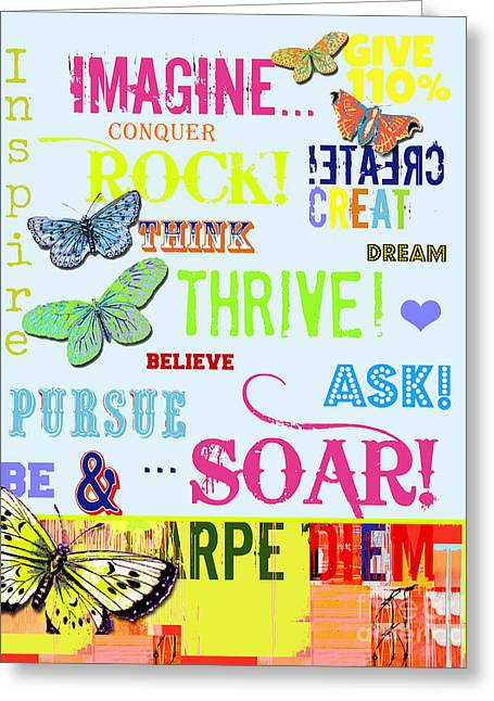 Empower Greeting Cards - Kids Colorful  Inspirational Typography  Greeting Card by ArtyZen Studios - ArtyZen Home
