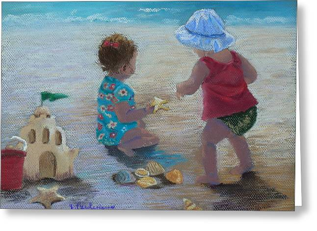 Sand Castles Pastels Greeting Cards - Kids having a shell time in  Holmes Beach Greeting Card by Diane Larcheveque