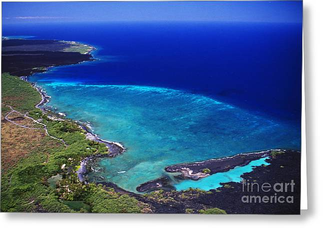 Peter French Greeting Cards - Kiholo Bay Aerial Greeting Card by Peter French - Printscapes