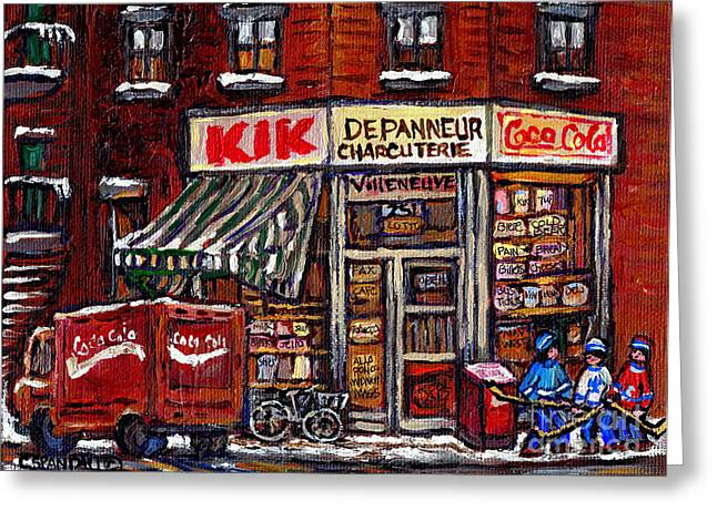 Hockey Paintings Greeting Cards - Kik Cola Depanneur Villeneuve And Jeanne Mance Coca Cola Truck And Street Hockey Montreal Paintings  Greeting Card by Carole Spandau