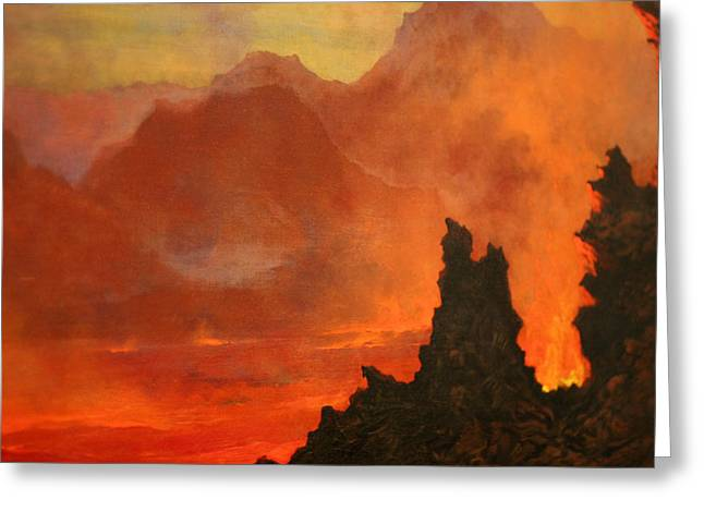 Tavernier Greeting Cards - Kilauea Caldera. Sandwich Islands  Greeting Card by Jules Tavernier