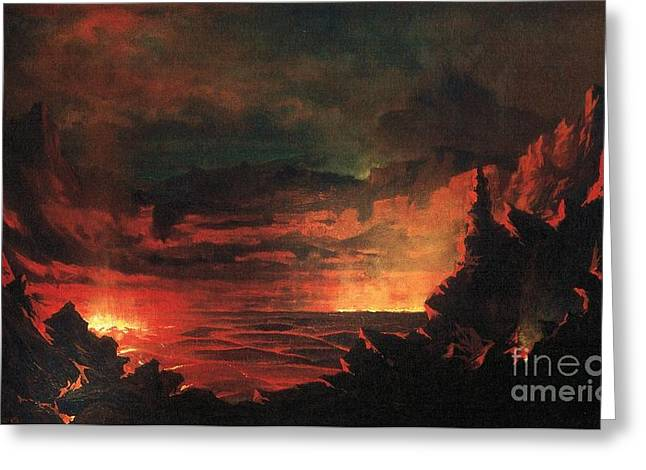Sandwich Paintings Greeting Cards - Kilauea Caldera Sandwich Islands Greeting Card by Pg Reproductions