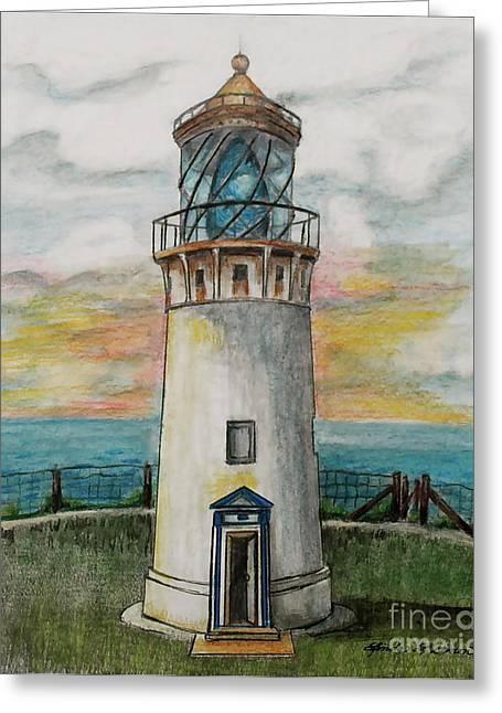 Kilauea Lighthouse Greeting Card by Linda Simon