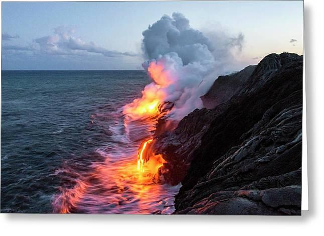 Kilauea Volcano Lava Flow Sea Entry 3- The Big Island Hawaii Greeting Card by Brian Harig