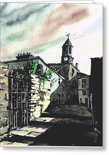 Kilkenny City  Clocktower Laneway  Greeting Card by Val Byrne