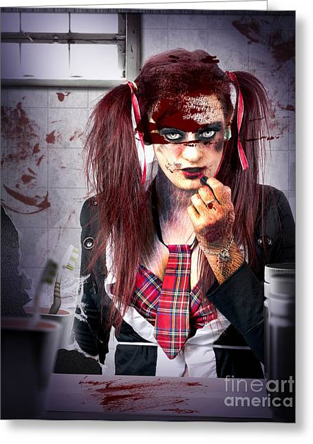 Bully Greeting Cards - Killer school girl in a murder cover up Greeting Card by Ryan Jorgensen