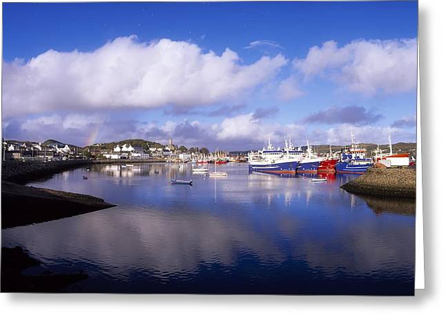 Ocean. Reflection Greeting Cards - Killybegs, Co Donegal, Ireland Greeting Card by The Irish Image Collection