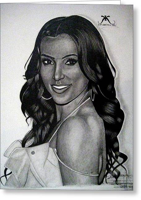 Kim Drawings Greeting Cards - Kim Kardashian Drawing Greeting Card by Keeyonardo