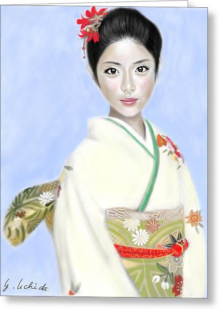 Yoshiyuki Uchida Greeting Cards - Kimono girl No.2 Greeting Card by Yoshiyuki Uchida