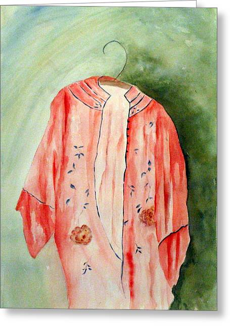 Shades Of Red Greeting Cards - Kimono Rouge Greeting Card by Stella Ault