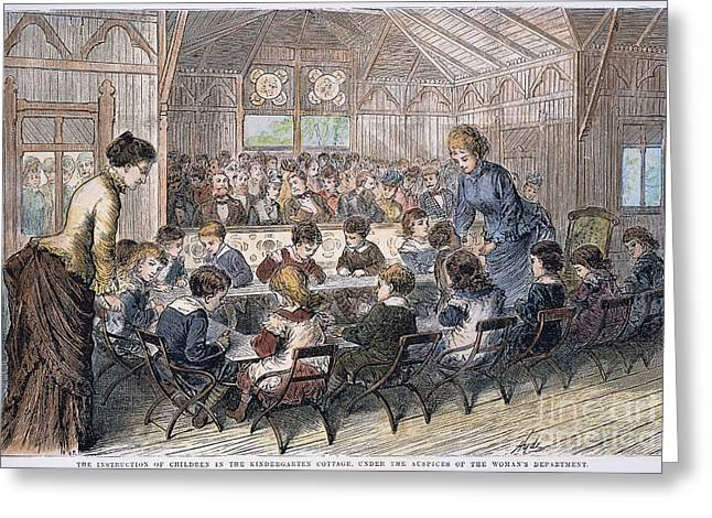 Schoolmistress Greeting Cards - Kindergarten Cottage, 1876 Greeting Card by Granger