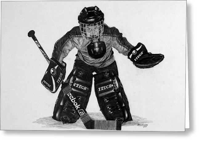 Little League Drawings Greeting Cards - Kindergoalie Greeting Card by Duncan  Way