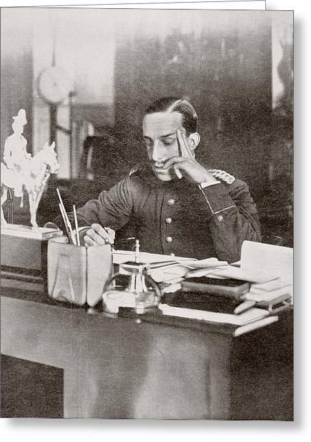 King Alfonso Xiii Of Spain At His Desk Greeting Card by Vintage Design Pics