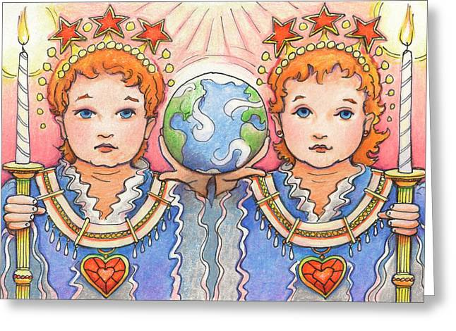 Candle Lit Drawings Greeting Cards - King and Queen of a Future World Greeting Card by Amy S Turner