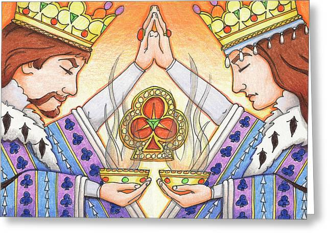 Yang Greeting Cards - King and Queen of Clubs Greeting Card by Amy S Turner