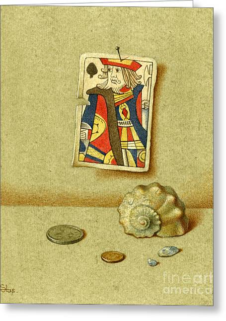 Recently Sold -  - Ply Greeting Cards - King and Seashell Greeting Card by Victor Sap