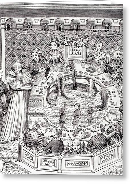 Camelot Drawings Greeting Cards - King Arthur And The Knights Of The Greeting Card by Ken Welsh