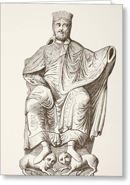 Burgundy Greeting Cards - King Dagobert I. After A Bas-relief Greeting Card by Ken Welsh