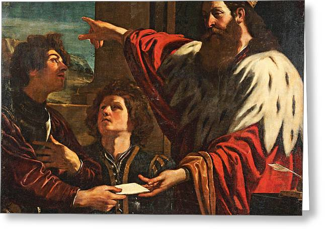 Giovanni Francesco Barbieri Greeting Cards - King David giving Uriah a letter Greeting Card by MotionAge Designs