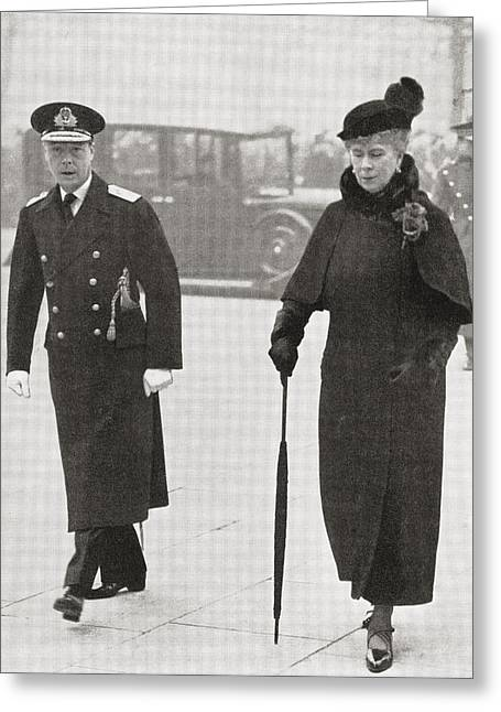 Duke Of Windsor Greeting Cards - King Edward Viii And Queen Mary Greeting Card by Ken Welsh
