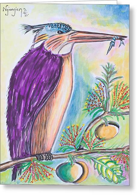 Ken Greeting Cards - King Fisher Greeting Card by Ken Nganga