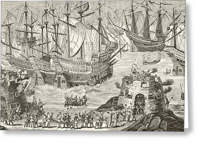 White Cloth Greeting Cards - King Henry Viii Of England Embarking At Greeting Card by Ken Welsh