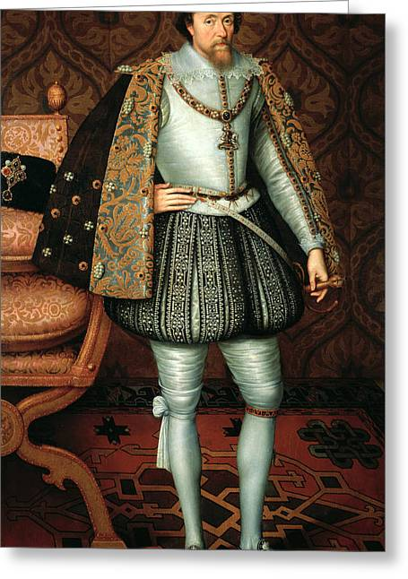 Royal Family s Paintings Greeting Cards - King James I Greeting Card by Paul van Somer
