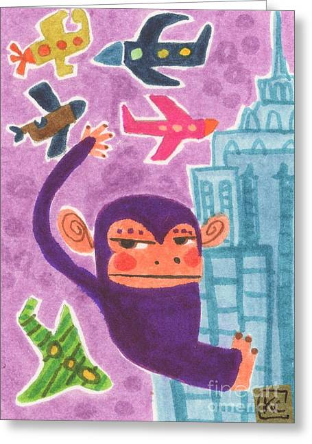 Gorilla Drawings Greeting Cards - King Kong Greeting Card by Kate Cosgrove