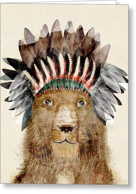 Lion Illustrations Greeting Cards - King Leo Greeting Card by Bri Buckley