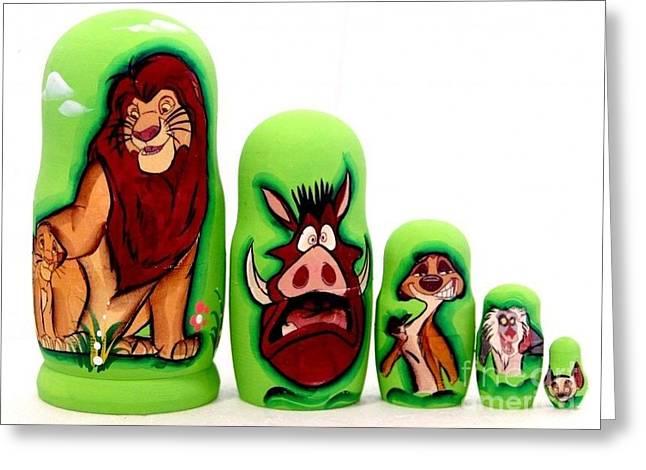 Lions Greeting Cards - King Lion Nesting Doll Greeting Card by Viktoriya Sirris