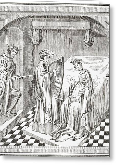 Mark Drawings Greeting Cards - King Mark Stabbing Tristan In The Greeting Card by Ken Welsh