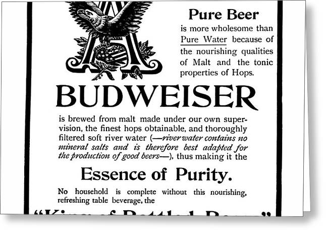 King Of Bottle Beers - Budweiser  1903 Greeting Card by Daniel Hagerman