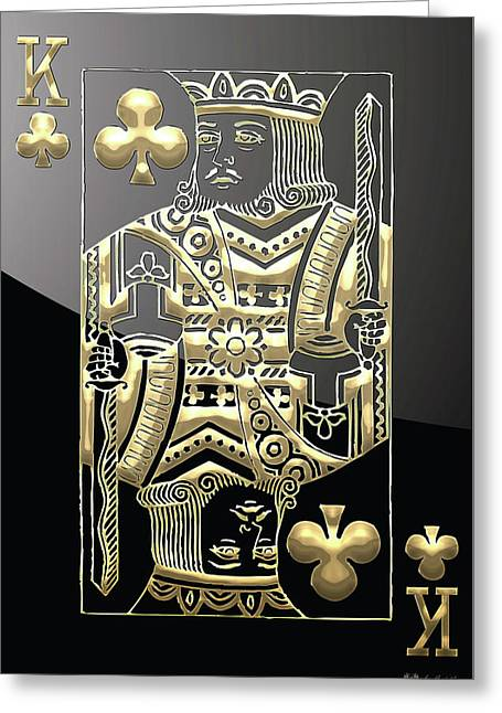 Playing Cards Greeting Cards - King of Clubs in Gold on Black   Greeting Card by Serge Averbukh