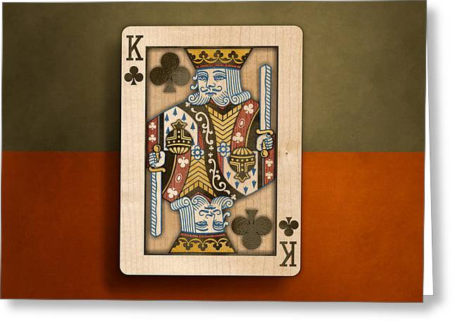 Wager Greeting Cards - King of Clubs in Wood Greeting Card by YoPedro